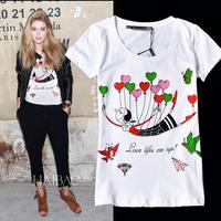 2014 Fashion love classic cartoon balloon fly slim oliver short-sleeve cotton t shirt women S,M,L Free shipping