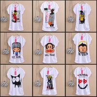 2014 Fashion Loose top Good Quality Cotton T Shirt Women Tops Short-sleeve t shirts  casual dress Bat sleeve Free Shipping