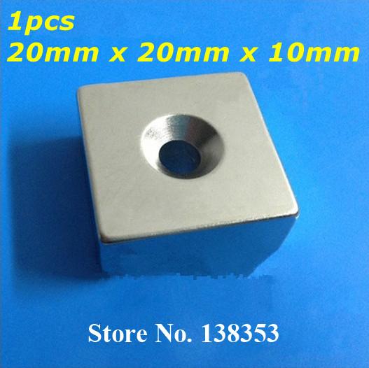 Гаджет  1pcs Bulk Strong Neodymium Countersunk Block Magnets 20mm x 20mm x 10mm With Single Hole N35 NdFeB Square Cuboid Magnet None Строительство и Недвижимость