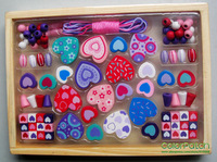 WE-8008,Love&Sweet Heart Beads Set,Wooden Toy,Educational,Practical,Water Paint,50pcs More Parts,Foreign Order Stock
