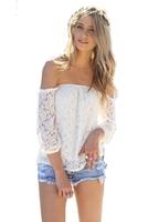 5660 Free shipping 2014 European and American lace hollow yarn blouse blusa shorts women blouses three Quarter Chiffon dress