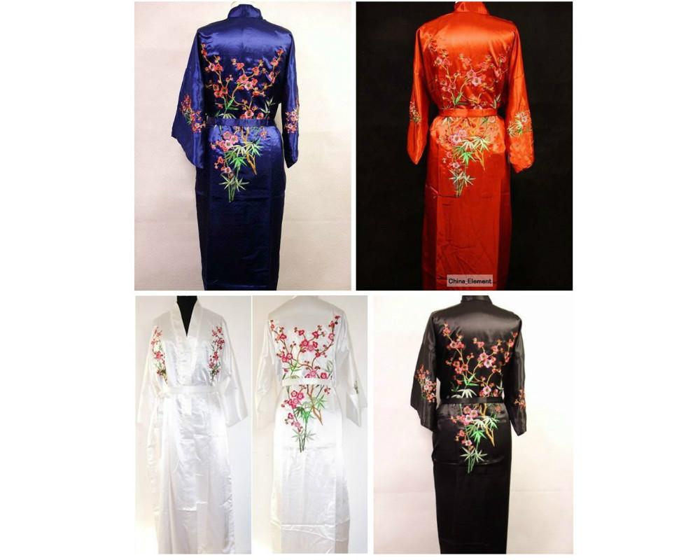 Мода черный китайских женщин шелковый атлас халат вышивка кимоно ванна платье sml XL XXL XXXL бесплатная доставка MR-021