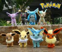 8PCS/lot Pokemon Plush 6 inch Leafeon Glaceon Eevee Jolteon Vaporeon Flareon Espeon Umbreon Plush Toy Toys Free Shipping