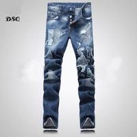New 2014 pants denim mens dsq jeans designer brand jeans men ripped top quality slim fit light blue jeans