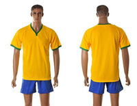 2014 World Cup Soccer Jerseys National Team Jerseys Set Brazil Traditional Yellow blue match Color Jerseys Set best prices