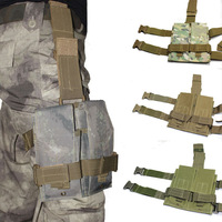 Tactical CQB Airosft Paintball Hunting Molle Double Drop Leg Thigh M4/16 5.56MM Mag Pouch W/  Velcro Quick Release Buckles