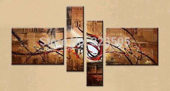 4 painel abstrata moderna arte da parede da lona handpainted decorativa marrom acrílico pintura a óleo sobre tela da decoração sala(China (Mainland))
