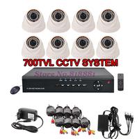 700TVL Home Video Surveillance System 8CH D1 CCTV Network DVR 8pcs IR CUT Dome Security Camera