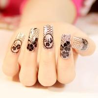 $2 new fashion 12 designs can choose black lace 1pack nails art stickers DIY decorations foils wraps wholesale nail tools  women