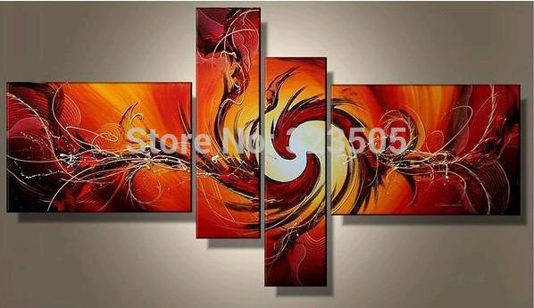abstrata moderna 4 painel da parede da lona arte artesanal acrílico laranja pintura a óleo sobre tela da decoração sala cozinha deco(China (Mainland))