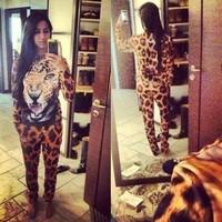 2015 Sale Women Suits Women Pants Set New Suit Clothing Animal Leopard Tiger 3d Print Sport Hoodie Sportswear Sweater Sweatshirt