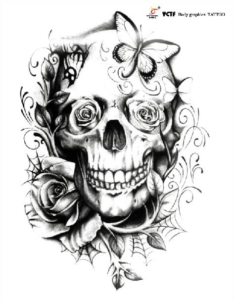 Tatoo Rose And Human Skeleton Waterproof Tattoo Big Size
