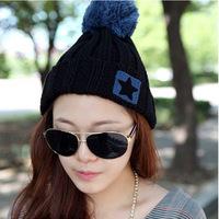 Beanies Caps [ South Korea ] Explosion Models Mixed Batch of New Balls Warm Cotton Cap Knitted Cuffs Pentagram Hat Female Mz3049