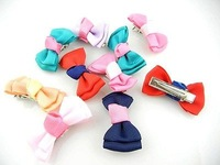 Wholesale 50pcs/lot Assorted Cute PET Dog Cat Baby Girls Grosgrain Ribbon Bows Hair Clips