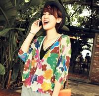 2014 summer new Korean loose big yards printed cardigan sweater women