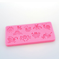 Free Shipping 10 pc 120X57X10MM Cute Creature Bee Frog Insect 3D Silicone Mould Cake Decoration Embosser Fondant Chocolate