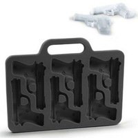 2014 New Cool Hand Gun Shape Ice Cube Tray Food Safe TPR Material Creative Ice Moulds Stocked Random Color