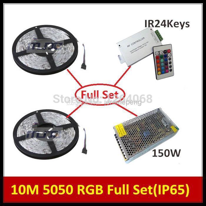 Wholesale - 2 x 5M 600-SMD LED 5050 RGB Waterproof IP65 + 1PC IR 24Keys RGB Controller + 1PC 12V 12.5A 150W CE CB +US/UK/AV/EU(China (Mainland))