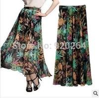 2014 New Wholesale Retro Perspective Hawaiian Print Chiffon Long Skirt Fashion Women's Skirts Pencil Skirts C-BT5058