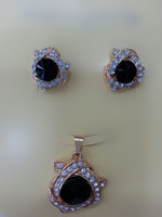 Afrcia style gold plated C C color  earrings and pendent with rhinestone