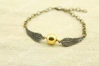 1pcs Bronze Tone The Golden Snitch Bracelets harry potter jewelry handmade gift