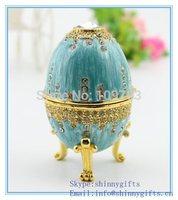 Sky Blue Trinket Egg Faberge Decorative Jewelry Box with Crystal decoration SCJ008
