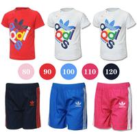 Retail 3 Colors Children clothing summer Casual fashion short-sleeve 2 pcs boy girls clothes set(t shirt+ Shorts) Free Shipping