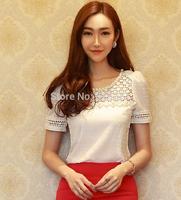 New 2014 spring summer blouses o-neck  women chiffon blouse plus size Solid Fashion backing shirt  free shipping B042 size S-XXL