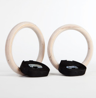 1 Set  Wooden Olympic Gymnastic Gym Rings Hoop Crossfit Excersise Fitness Dip Pull Ups Workout