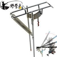 Double Spring Automatic Adjustable Fishing Rod Pole Bracket Practical Silver Stainless Steel Tool Stand Holder Support Mounts