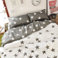5SET/LOT! Ikea Style Bedding sets, Gray Star Pattern Cute Bedding sets, Five Star Print Duvet Cover Set, Lovely queen bedding