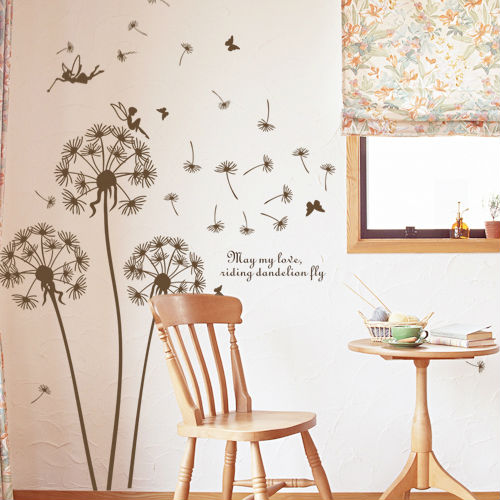 Raamdecoratie Keuken Vet : Wall Decals Dandelion Blowing in the Wind