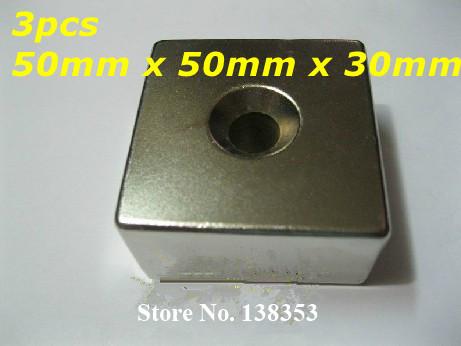 Магнитные материалы HISKY 3pcs 50 x 50 x 30 N35 NdFeB 50mm x 50mm x 30mm_3_Hole_Single