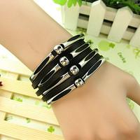 free shipping Fashion leather bracelet hot-selling star multi-layer beaded Women male leather bracelet