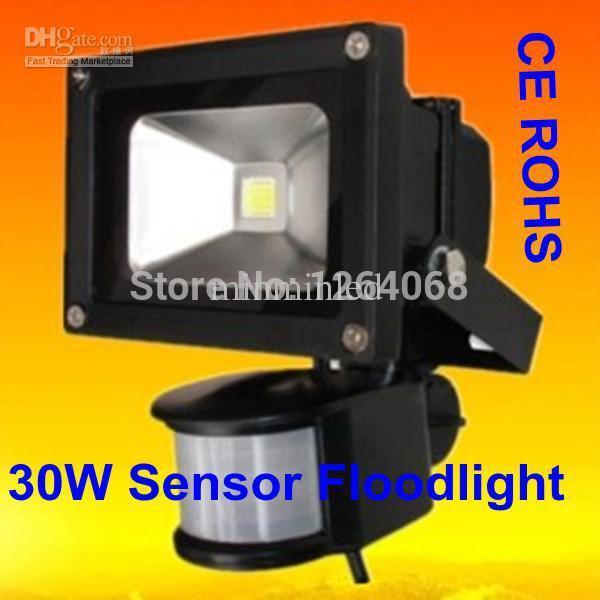 Wholesale - 1pcs Black 30W LED Sensor Floodlight PIR motion Park Security Flood Lights 110V-220V IP65 Range 7-9M free shipping(China (Mainland))