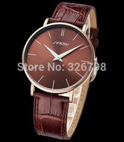 2014 New SINOBI Brand Genuine Leather Strap Watch for Mens Man Slim Quartz Analog Military Waterproof Wristwatch