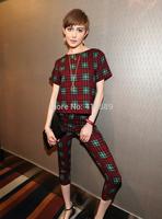 2014 fashion vintage plaid loose short-sleeve top capris casual set female summer twinset
