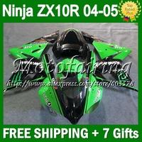 7gifts+ For KAWASAKI HOT Green NINJA ZX10R 04-05 2004 2005 Body C1936 ZX-10R ZX 10R Green black ZX 10 R 04 05 Fairing Kit