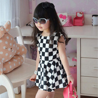 FREE SHIPPING cute knee length princess casual girl dress BLACK AND WHITE PLAID sleeveless one-piece dress Girl's dresses