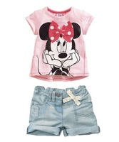 MINNIE Girl's Summer denim suit sets children sets T- shirts + jeans pants girls Outfits Sets Baby  FREESHIPPING
