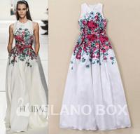 Best Grade!New In High Fashion Trend Summer 2014 Women Animal Floral Print  Floor-Length Maxi Dress Silk Long Dress