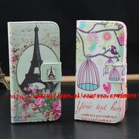 for iphone 5 5s case Best quality Cute tower Birdcage leather case cover to iphone5 5s with ID card holder free shipping