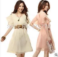 Free shipping Hot 2014 fashion New spring Women Flounced chiffon dress Retro Dress