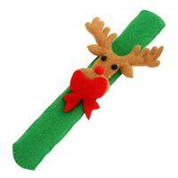 2pcs Christmas Theme Lovely Slap Bracelet/bangle XMA Decor Pat Circle Gift(green deer) 62608