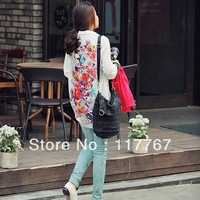 Free Shipping Printing Tops Flowers Women's Retro Chiffon Long Sleeve Casual New Blouses M/L 651933