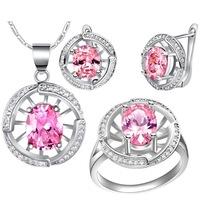 Free shipping, round pink crystal Micro Pave jewelry sets gold plated, fashion accessories, pendant necklace + earrings + ring