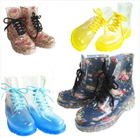 NEW 2014 17 colors fashion PVC women transparent  colorful crystal clear Jelly rainboots martin rain boots Free shipping