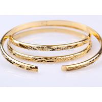3PCS Carved Bangle 18K Yellow Gold Filled Lady's Bracelet Bangle 6.0cm diameter 0.4cm wide  GF Jewelry