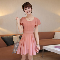 L373 summer plus size clothing for women summer gentlewomen short-sleeve chiffon one-piece dress