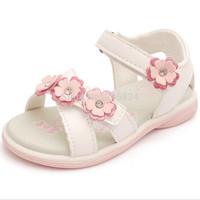 Hot Selling 2014 In stock Summer 1pair white PU girl Children Sandals Super Quality Kids/Children Shoes  inner length 12-15.5cm